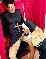 Shemale nun sucks dick of a priest