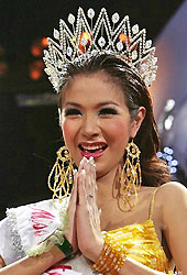Tanyarat Jirapatpakon is crowned after winning the Miss International Queen