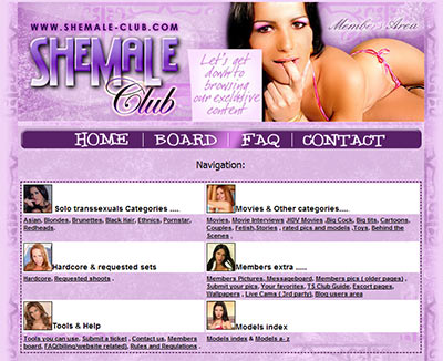 A screenshot from Shemale Club's members area