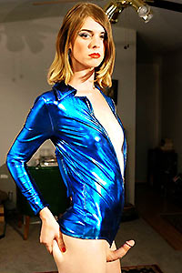 Tgirl Mandy in a shiny blue catsuit